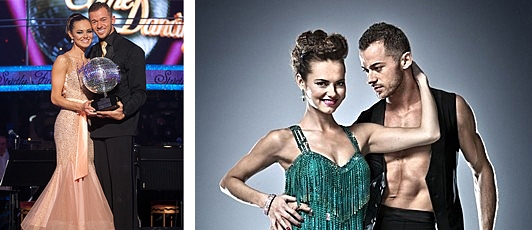 Kara Tointon holding the Strictly Come Dancing Glitterball Trophy