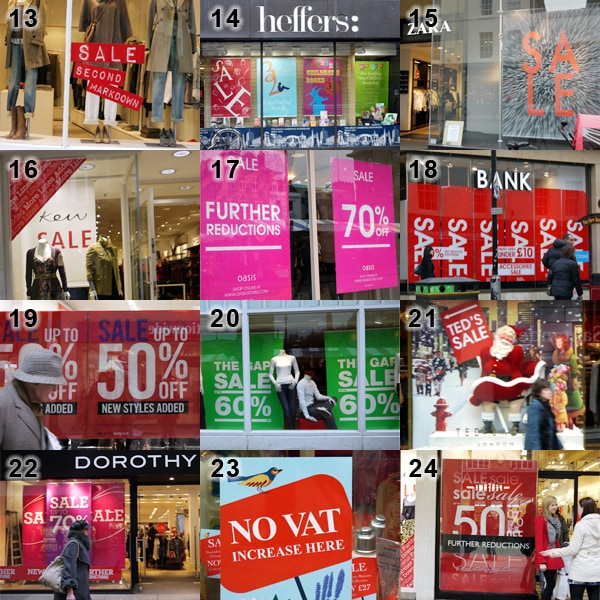Variety of shopfront sale signage