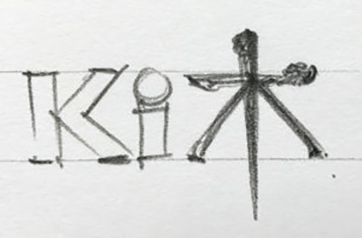 Early logo design sketches for Ki Agency