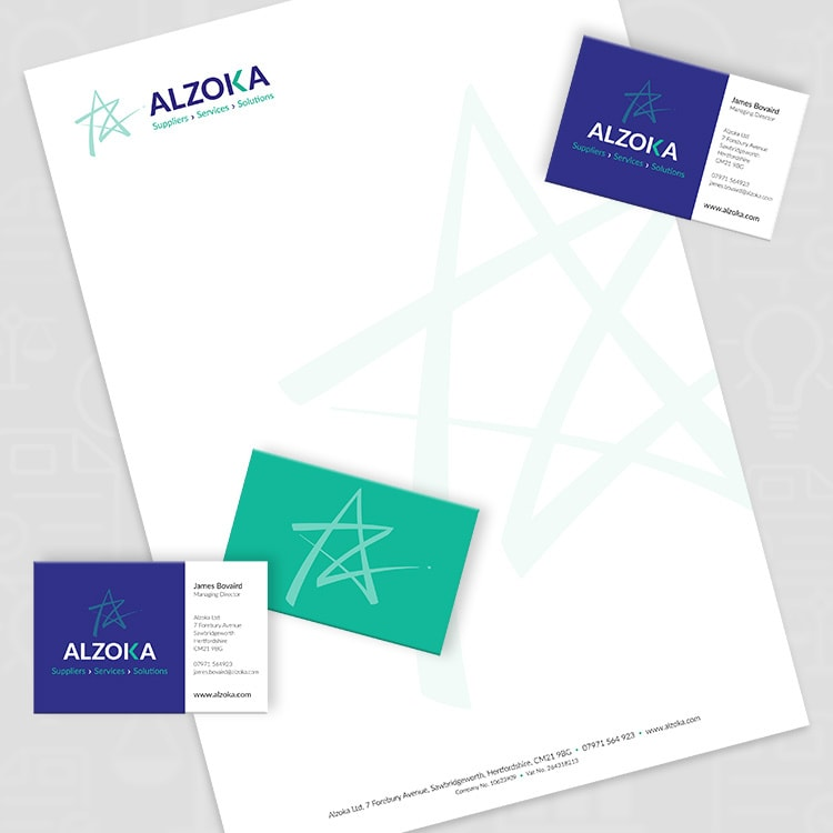 Letterhead and business cards corporate stationery design for Alzoka
