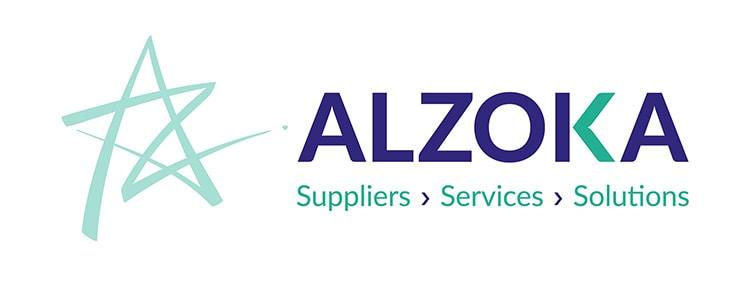 Branding Design animated landscape Alzoka logo teal and white background