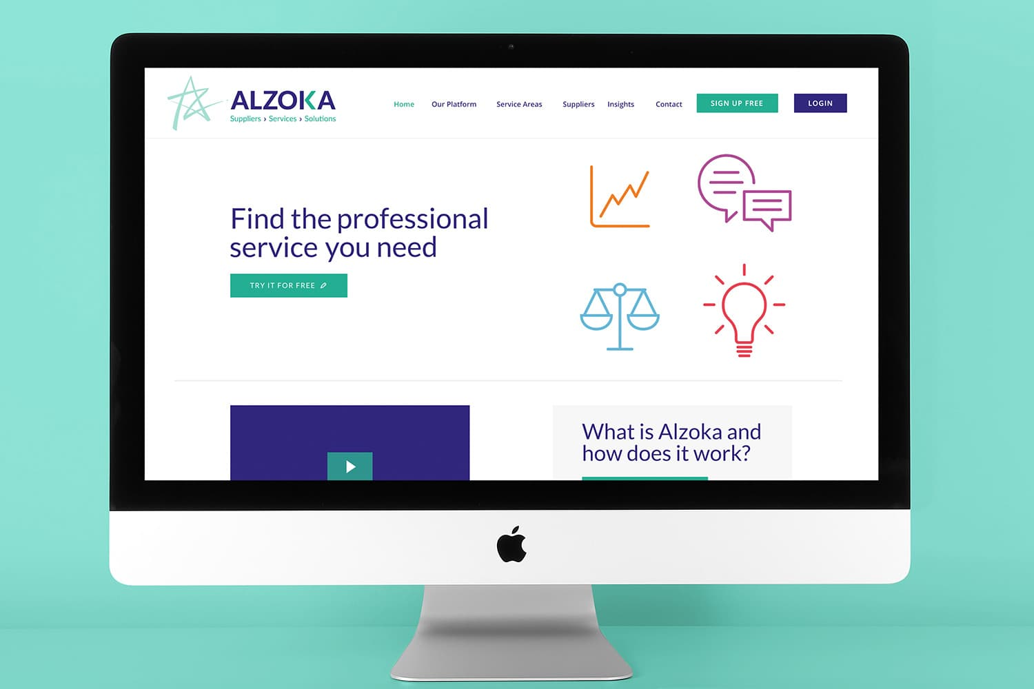 Desktop displaying the new Alzoka website design