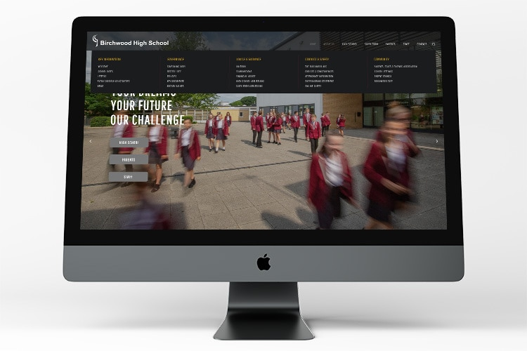 Homepage of Birchwood High School website displayed on desktop