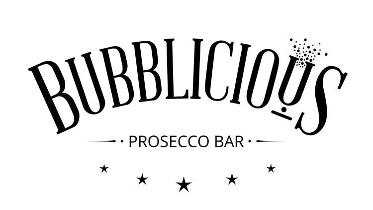 Bubblicious branding design in black and white
