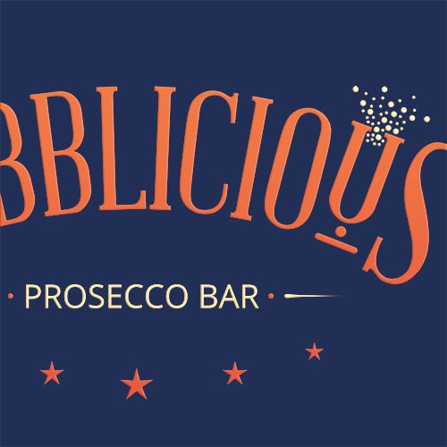 Reversed 3D Bubblicious logo design with blue background Thumbnail