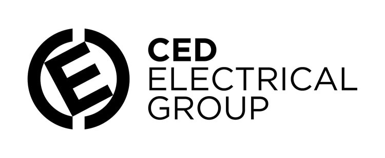 CED logo design in black and white
