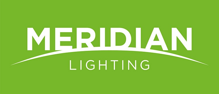 CED sub-brand Merdian Lighting logo design reversed