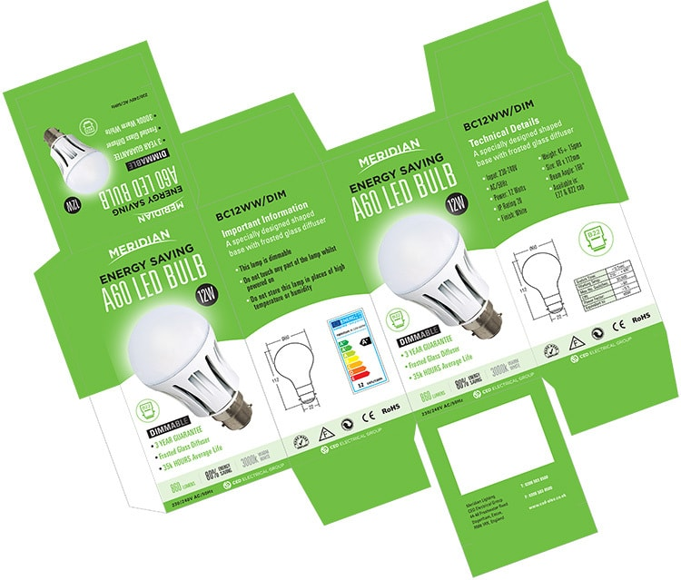 Merdian Lighting A60 LED Bulb product packaging design net artwork