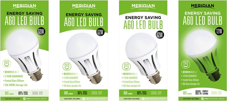 Front of product packaging design options for Merdian Lighting A60 LED Bulb