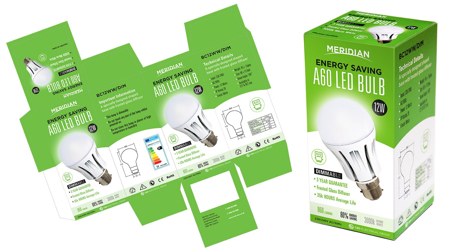 Merdian Lighting A60 LED Bulb packaging design net artwork alongside 3D product carton