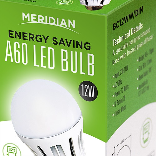 Close-up of Merdian Lighting product packaging design for A60 LED Bulb Thumbnail