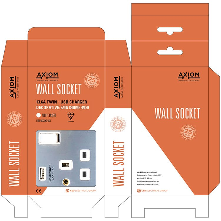 Wall socket product packaging design net artwork for Axiom