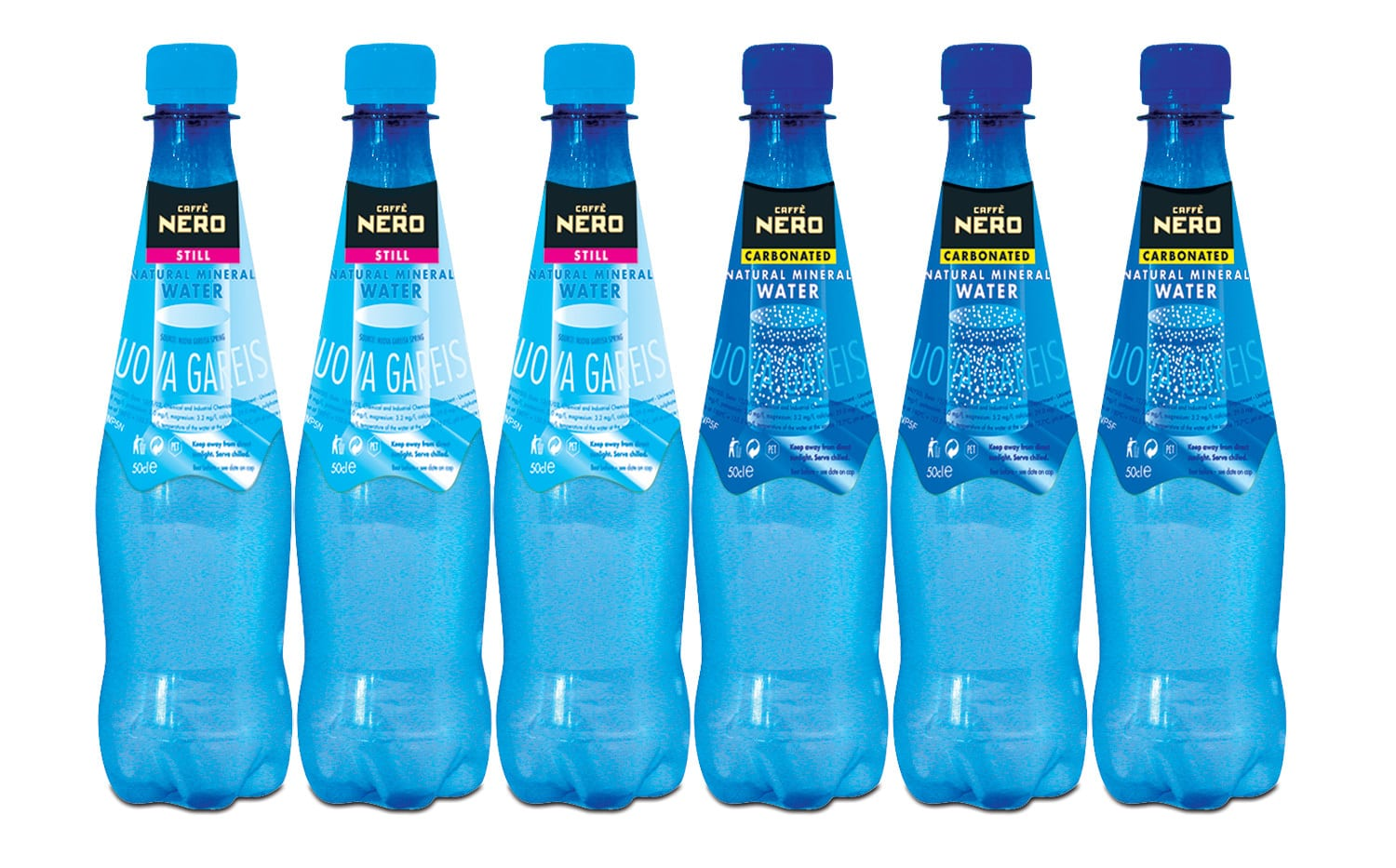 Blue still and carbonated water Packaging Design for Caffè Nero