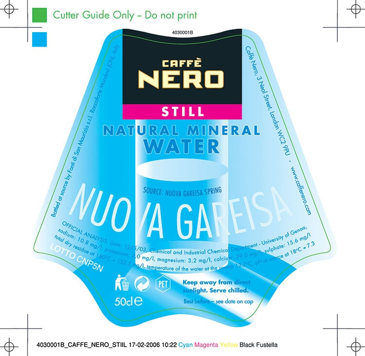 Caffè Nero still water label design with cutter guides and bleed