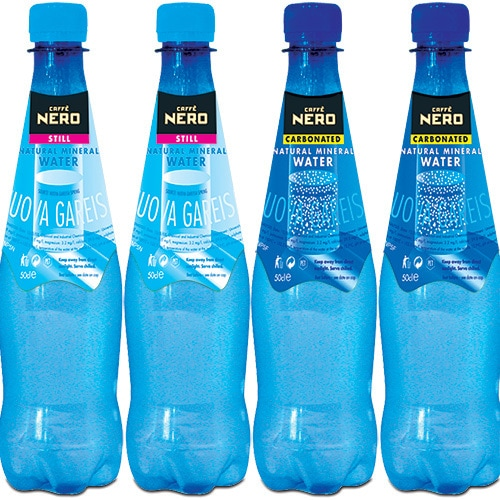 Blue still and carbonated water Packaging Design for Caffè Nero Thumbnail