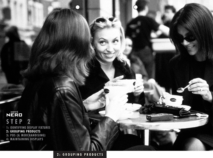 Black and white image of women drinking coffee together for Caffè Nero manual dividers