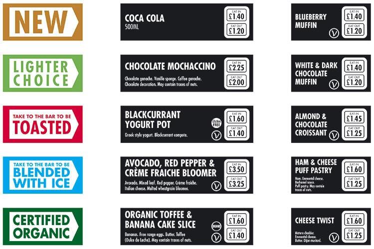 Shelf edge ticketing concept print design for Caffè Nero