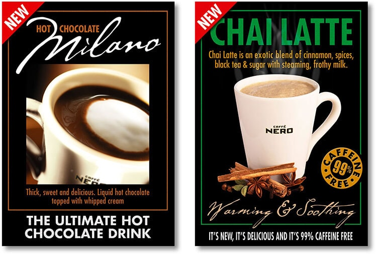 Promotion posters design for Hot chocolate and Chai latte drinks for Caffè Nero