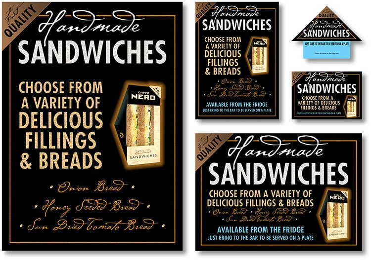 Handmade sandwiches promotion design for Caffè Nero