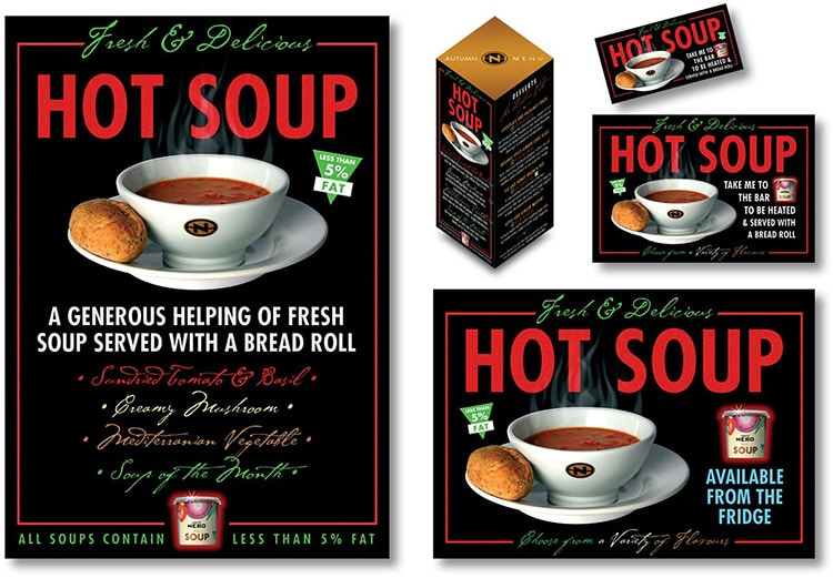 Various Caffè Nero Hot Soup promotion designs showing different soup flavours