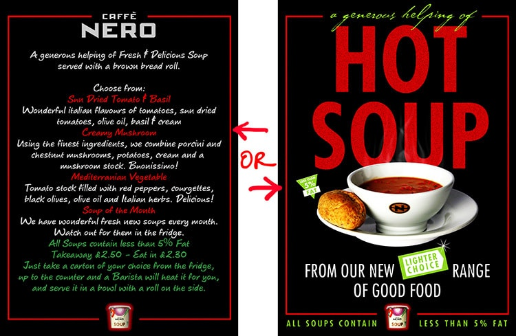 Before and After of Caffe Nero soup promotion design