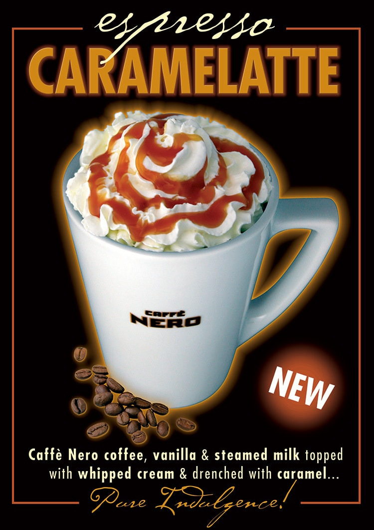 Final Promotional Design for Caffè Nero's Espresso Caramelatte Drink