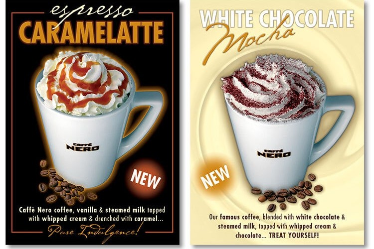 Final Promotional Design materials for Caffè Nero's White Chocolate Mocha and Espresso Caramelatte Drink