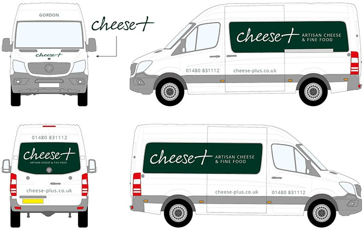 Flat of Cheese plus branded Mercedes van livery