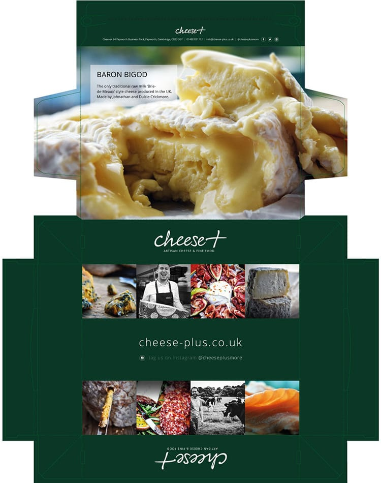 Packaging Design net artwork with Cheese Plus branding featuring full-bleed imagery and hi-res lifestyle photography