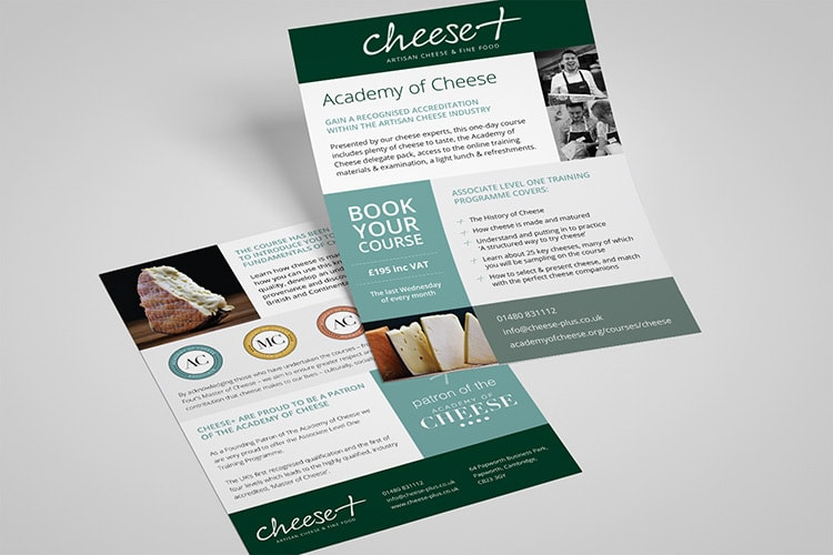 Promotional leaflet design for Cheese Plus