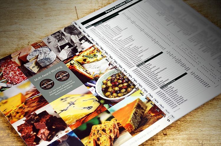 Grided image layout of Cheese and lifestyle pictures for the spread of the Cheese+ wiro bound customer price list