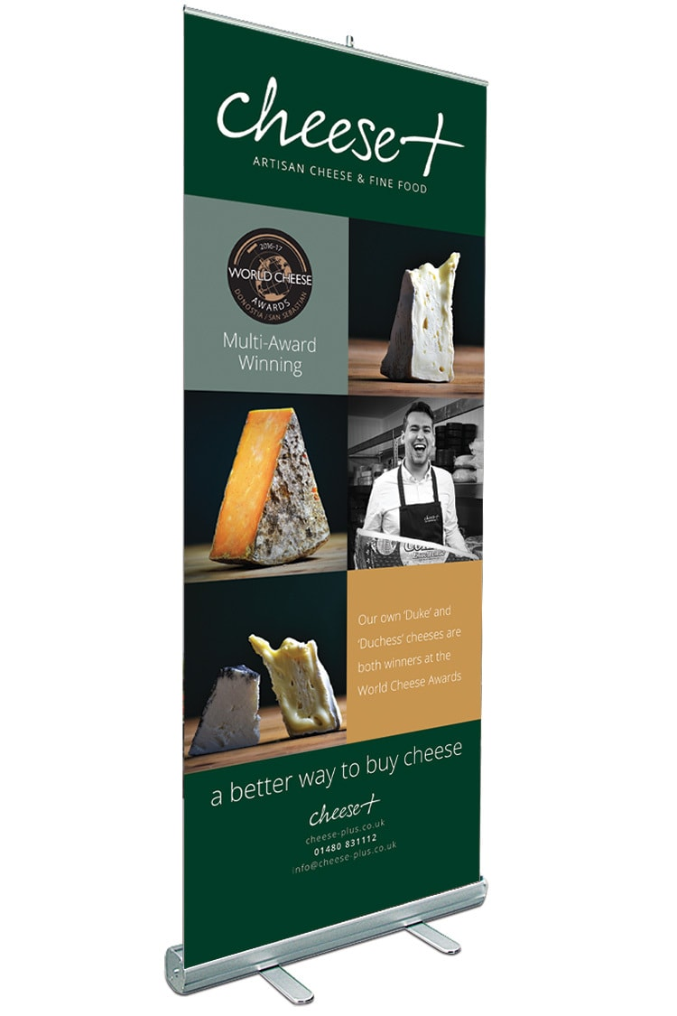 Promotional pop-up banner design for Cheese Plus