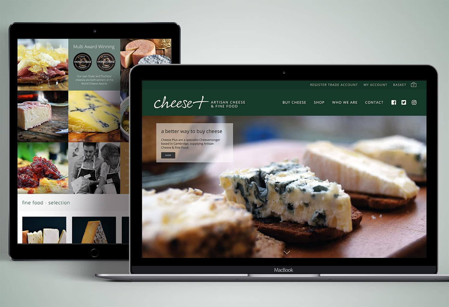 Laptop and Tablet responsive website design for Cheese Plus