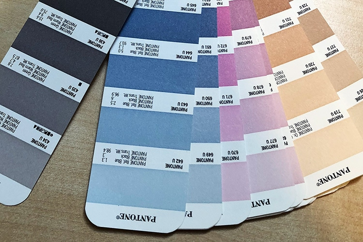 Pantone colours swatch
