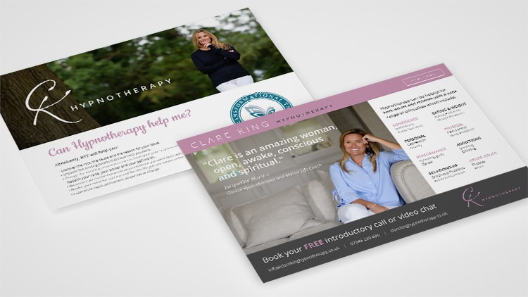 Postcard print design for Clare King
