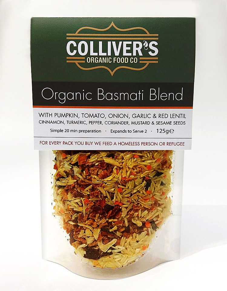 Packaging design for Colliver's Organic Food Basmati Pouch