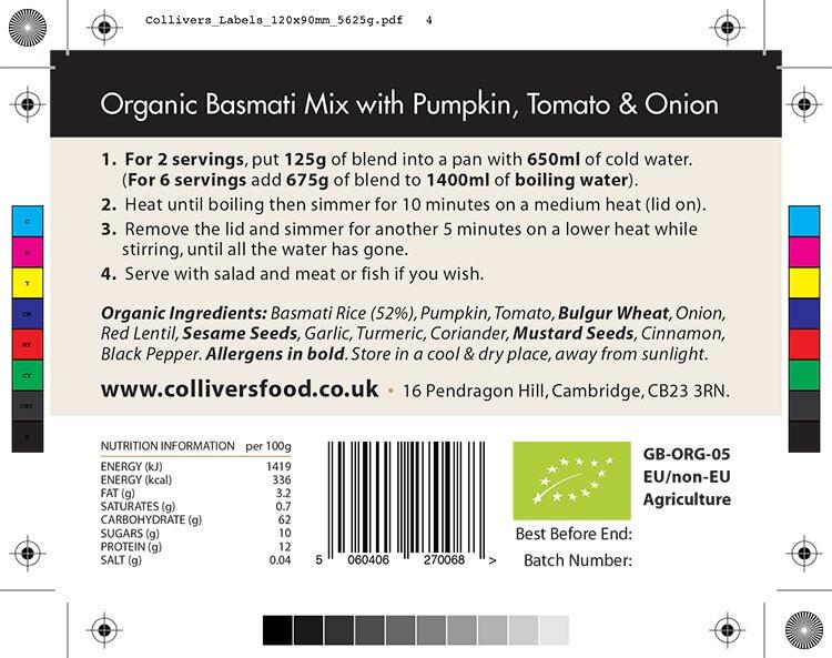 Colliver's Organic Food Basmati Blend ingredients back label design for pouch