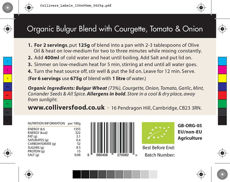 Colliver's Organic Food Bulgur Blend ingredients back label design artwork for pouch