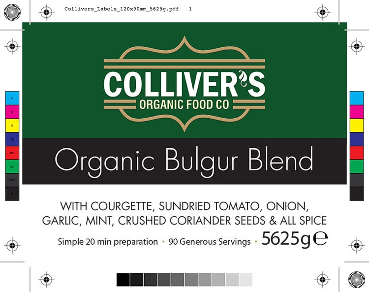 Colliver's Organic Food Bulgur Blend front label design artwork for pouch