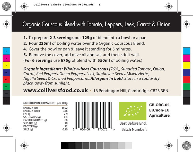 Colliver's Organic Food Couscous Blend ingredients back label design artwork for pouch