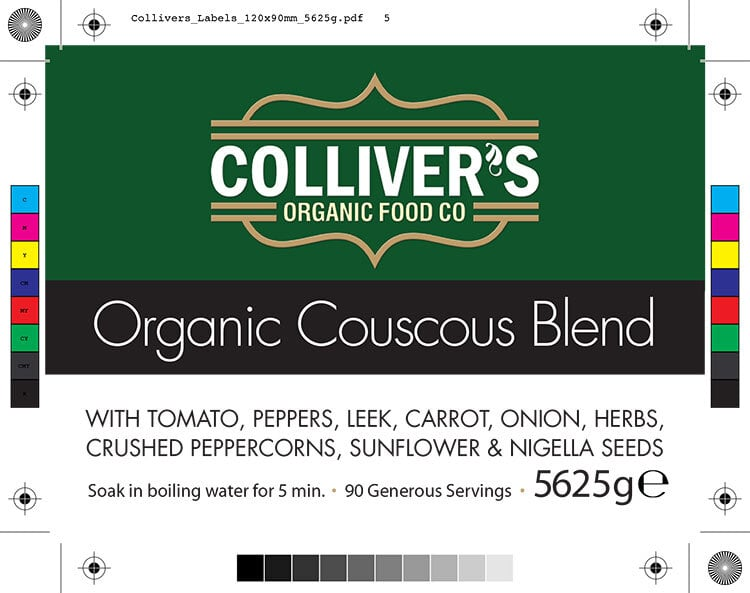 Colliver's Organic Food Couscous Blend front label design artwork for pouch