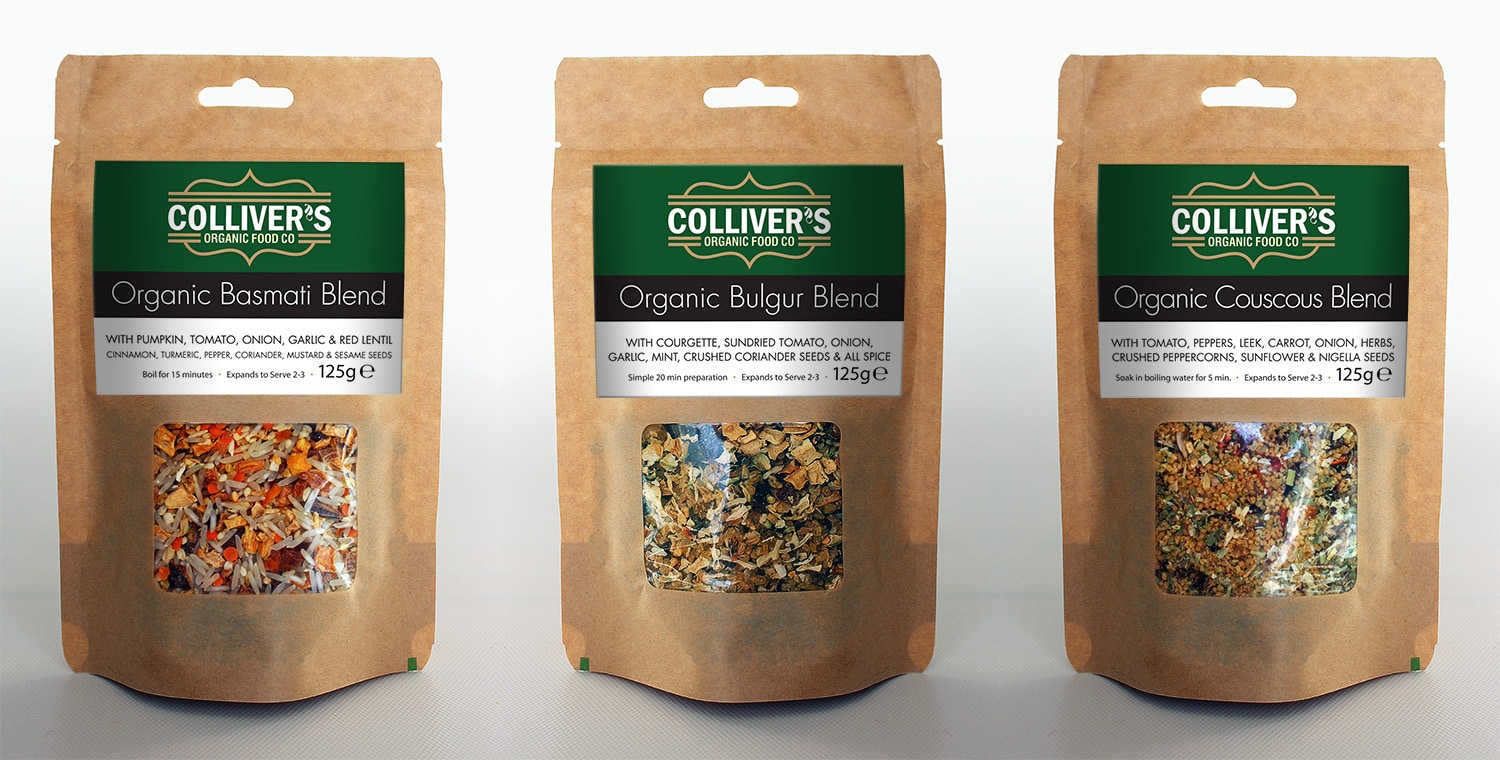 Colliver's Organic Food label design on pouches filled with grains