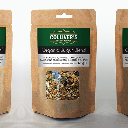 Colliver's Organic Food label design on pouches filled with grains Thumbnail