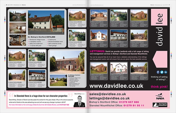 Advertising campaign design for David Lee Estates on observer newspaper