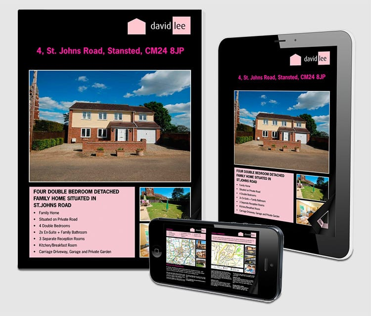 Responsive website design for David Lee Estates shown on mobile and tablet devices