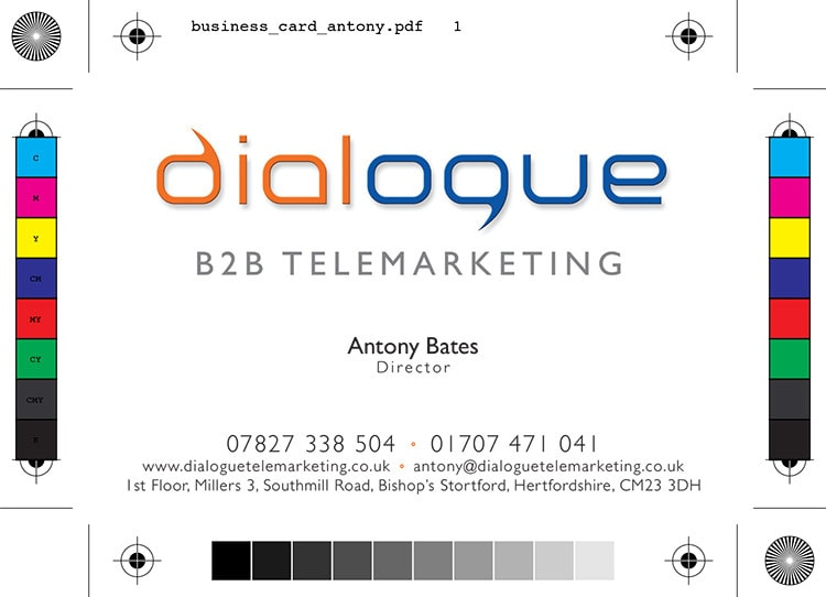 Front of business card with bleed for Dialogue Telemarketing