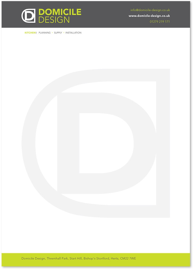 Letterhead stationery design for Domicile Design