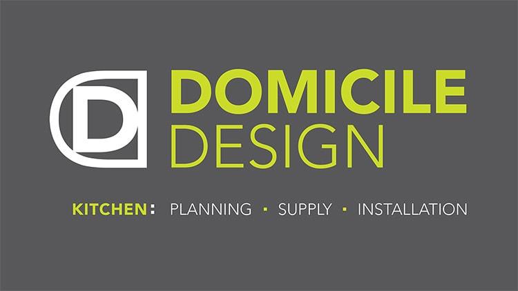 Domicile Design reversed logo with strapline
