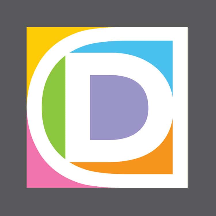 The development stage of the Domicile Design 'D' symbol design with multiple colours