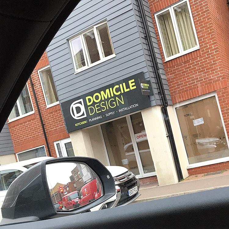 Shopfront with Domicile Design logo design and strapline